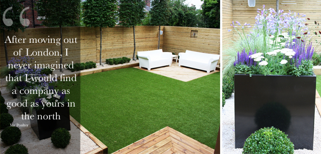 garden which reflected not only the modern clean crisp look of the interior but also provided an outside room for their children to play safely - Garden Design Uk