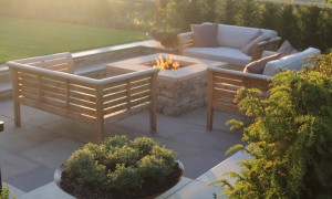 Seating around stone fire pit